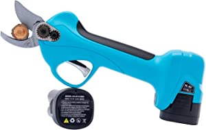 KOHAM Professional Cordless Electric Pruning Shears with 2 Pack Backup Rechargeable 2Ah Lithium Battery Powered Tree Branch Pruner, 25mm (0.98Inch) Cutting Diameter, 6-7 Working Hours (Blue)