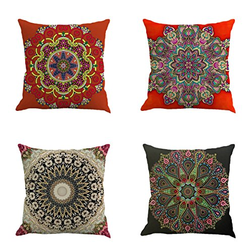 Set of 4 Retro Floral Mandala Compass Medallion Bohemian Boho Style Summer Decor Cushion Case Decorative for Sofa Couch 18 x 18 Inch Cotton Line (Bohemian Ethnic Style)