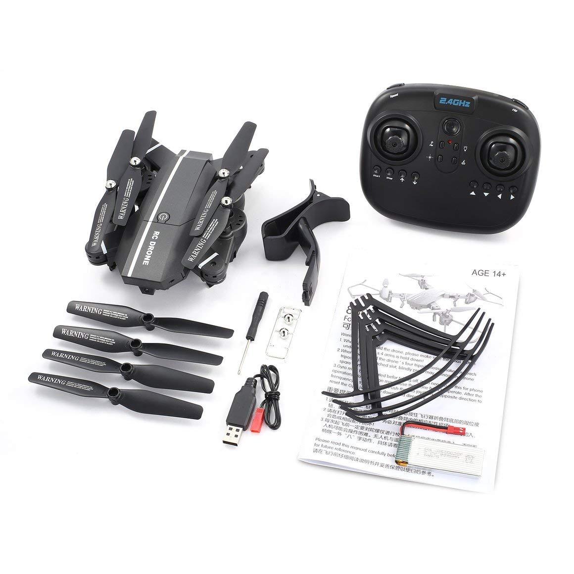 Funnyrunstore 8807W FPV Pliable Drone Selfie RC Quadricoptère 4ch avec WiFi Caméra Live Altitude Tenir en Mode sans Tête 360 ° Flips RTF