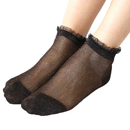 Gold Happy Summer Socks Women Thin Sheer Silky Glitter Transparent Short Ankle Socks Harajuku calcetines Mujer