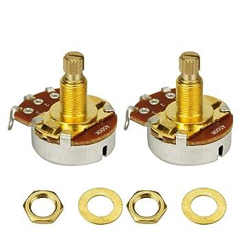 IKN 2pcs color dorado A500K tonos potenciómetros de tamaño completo Eje L18mm para Guitarra Bajo: Amazon.es: Instrumentos musicales