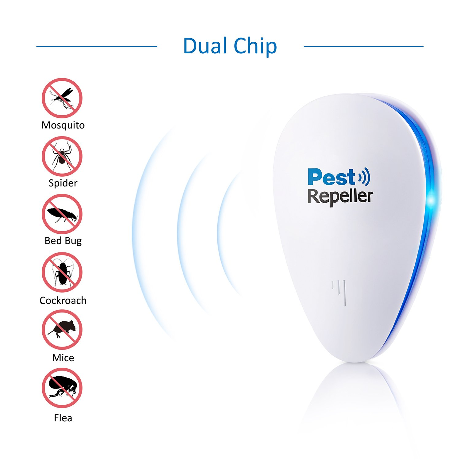 Ultrasonic Pest Control Repeller 2018 Upgraded Make This Electronic Mosquito Circuit Diagram Eletronic Repellent Plug In Insect Repels Mouse Bedbug Roaches