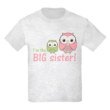 27e66ac6e Amazon.com  CafePress - Big Sister Owl Pink Green Kids Light T-Shirt ...