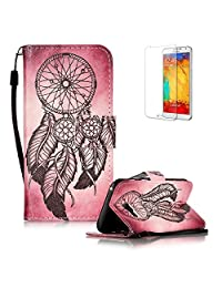 For Samsung Galaxy A5 2017 SM-A520F Case [with Free Screen Protector], Funyye Stylish Vintage Pattern Magnetic PU Leather Wallet Case with [Lanyard Strap] and [Credit Card Holders Slots] Protection Case for Samsung Galaxy A5 2017 SM-A520F