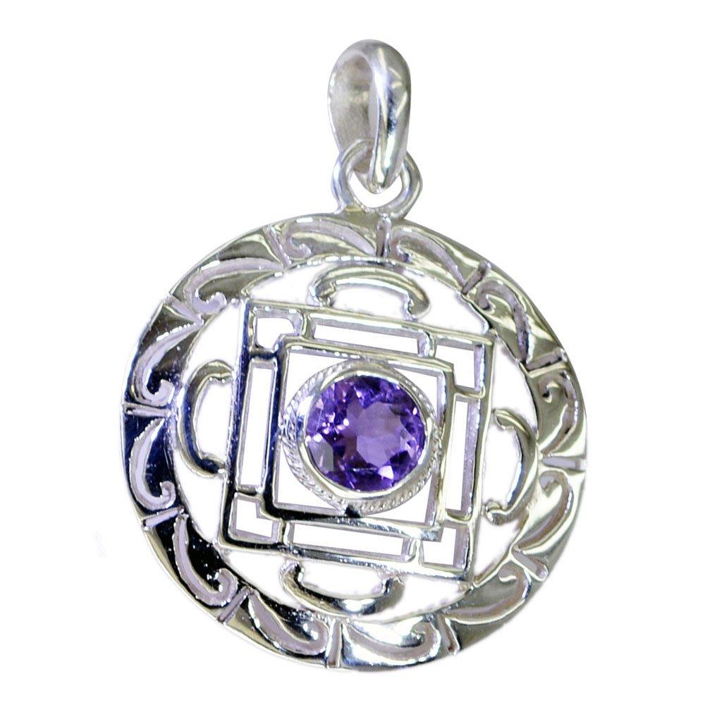 CaratYogi Pure Amethyst For Women February Birthstone Sterling silver Pendant Chakra Healing Victorian