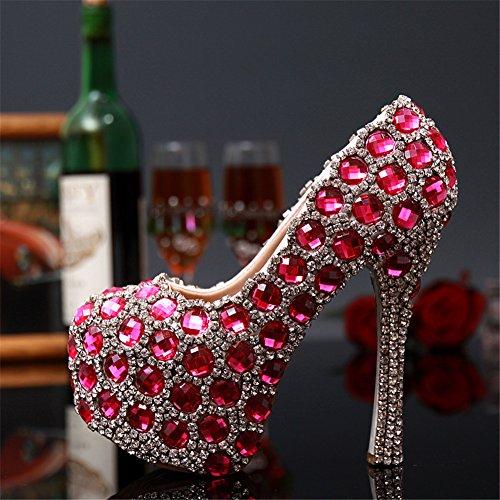 Sistars Colore Delle Nozze Da Tacco Della Di Diamante Rosa Pompe Principessa Sposa Donne Di grgTqwz7