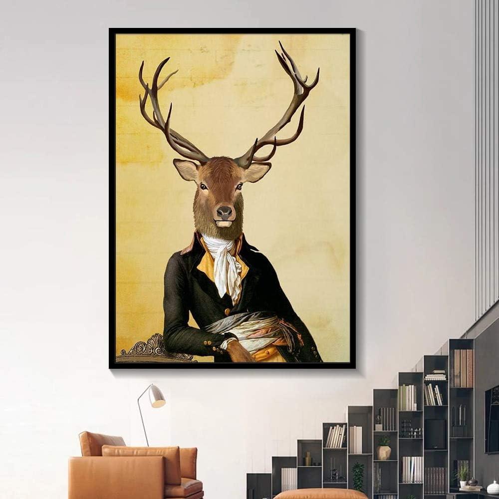Pintura sin Marco Elegante Blanco y Negro león Tigre Elefante Jirafa Lobo Caballo Arte de la Pared póster y Animales sobre lienzoAY5539 60X80cm