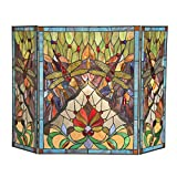 Chloe Lighting Tiffany-Glass Dragonfly 3pcs 44x28 ANISOPTERA Purity Folding Fireplace Screen, One Size