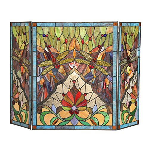 Chloe, Tiffany-Glass Dragonfly 3pcs 44x28 ANISOPTERA Purity Folding Fireplace Screen, One Size (Fire Screens Decorative Stained Glass)