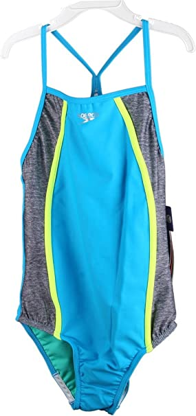 d763b50b57694 Amazon.com: Speedo Girls (Youth) Heather Thin Strap One Piece Swimsuit  771471K: Clothing