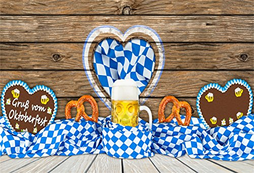 Laeacco Oktoberfest Party Backdrop 8x6ft Vinyl Photography Background Blue Checked Ribbon Beer Pretzels Heart Design Dessert Table Retro Wooden Wall Floor Germany Munich Festival Carnival Party (Germany Dessert)