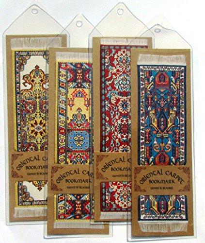 Oriental Carpet Bookmarks - Authentic Woven Carpet (Set of 4) Assorted Designs