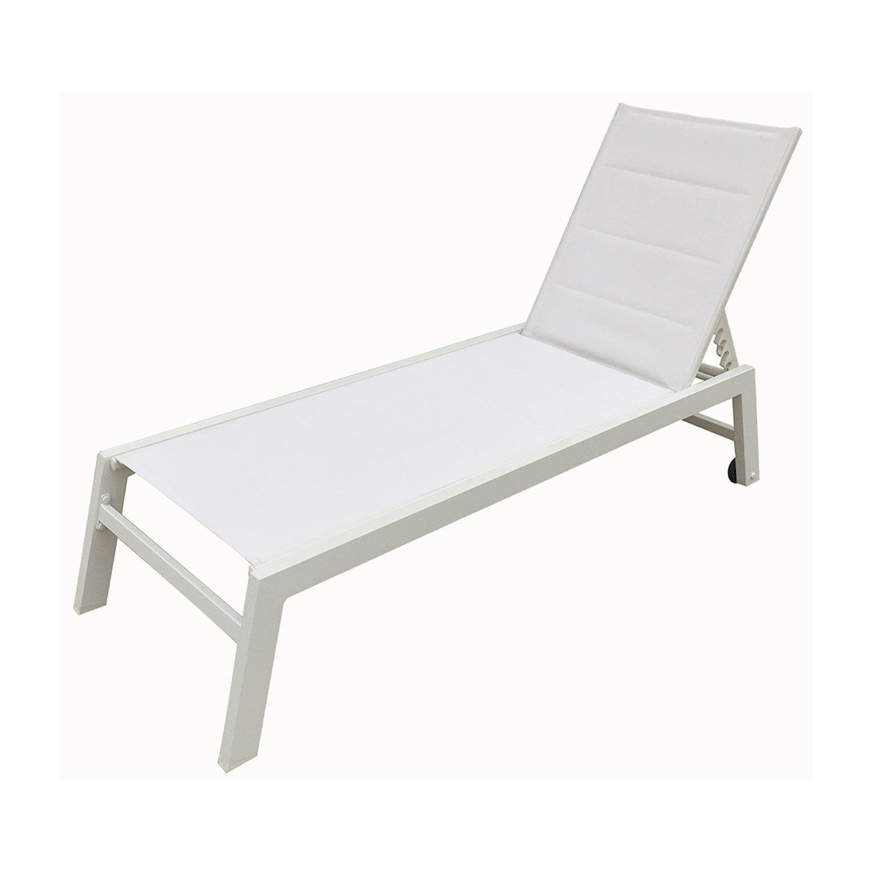 Happy Garden Bain de Soleil Barbados en textilène Blanc - Aluminium Blanc