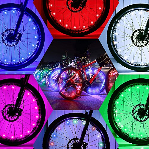 DAWAY Led Bike Wheel Lights - A01 Waterproof Bright Bicycle Light Strip (1 Tire, Colorful), Safety Spoke Lights, Cool Girls Boys Kids Bike Accessories, Light Up Wheels, with Battery, 1 Year Warranty]()