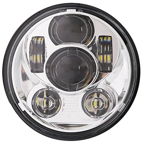 "2017 New Brightest 5-3/4 5.75"" Daymaker LED Headlight for Harley Davidson 883 Sportster Triple Low Rider Wide Glide Headlamp Projector Driving Light (Chrome)"