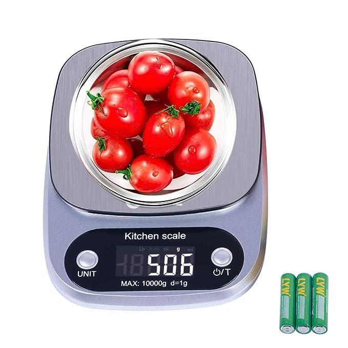 GOAMZ Báscula Digital para Cocina, Báscula de Cocina 10 kg/1g Balanza de Alimentos Multifuncional, Peso de Cocina, (Baterías Incluidas) (White): Amazon.es: ...