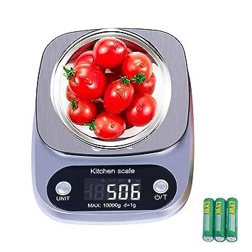 GOAMZ Báscula Digital para Cocina, Báscula de Cocina 10 kg/1g Balanza de Alimentos