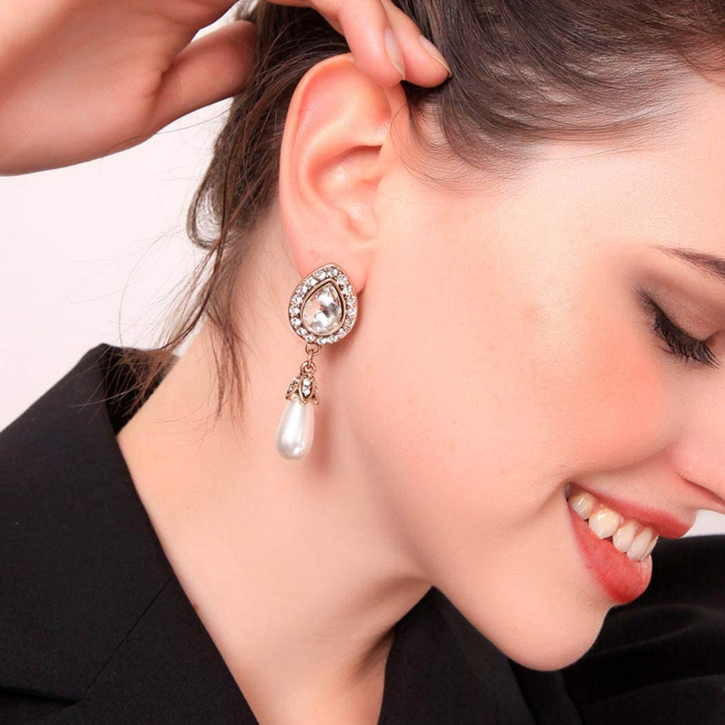 Pendientes colgantes de perlas de Handcess con forma de lágrima de cristal y diamantes de imitación, joyería de oro para mujeres y niñas