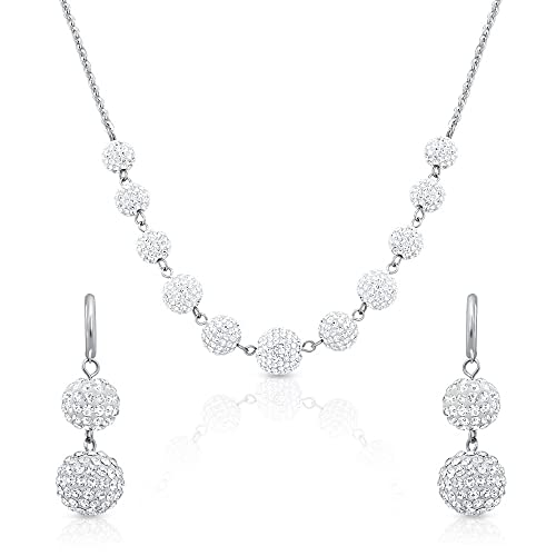 Oviya Rhodium Plated Necklace Set with Crystal Stone for Women NL2103107R Jewellery Sets at amazon