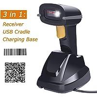 Tera Scanner de codes à barres sans fil 2D&1D avec Socle de Chargeur 3 en 1 Douchette Laser Lecteur 500 scans par Seconde résolution 4 mil Lecture précise et rapide