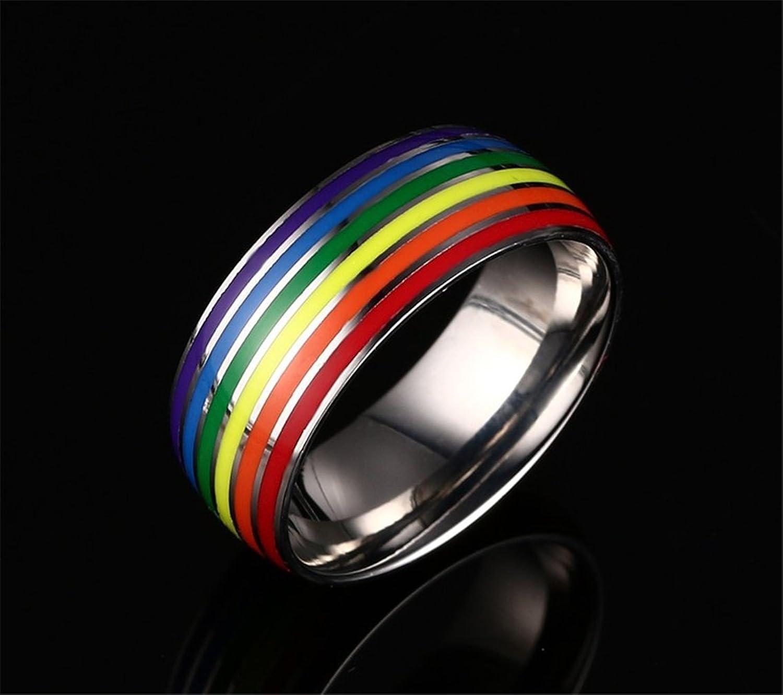 8mm titanium stainless steel rainbow enamel lesbian wedding