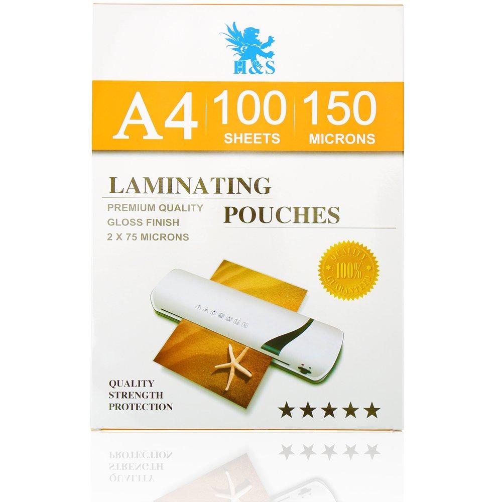 H /& S 100/x A4/Lot de 100/pochettes de plastification 150/microns 2/x 75/microns brillant Pochettes Plastifieuse feuilles stratifi/é brillant Pochette