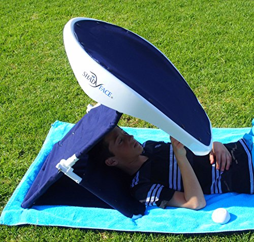 ShadyFace Sunshade Includes a backpack, Tablet Holder, sand spikes, furniture belts, Beach Shade relaxing (Captain Navy)