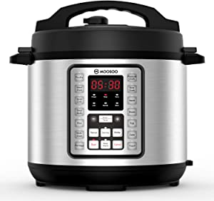 Pressure Cooker, MOOSOO 70% Quicker Instant Pressure Pot 14-in-1, Stainless Steel Electric Rice Cooker, Slow Cooker, Steamer, Saute, Yogurt Maker,Egg Cook, Sterilizer,Warmer, 6 Quart, Recipes Included