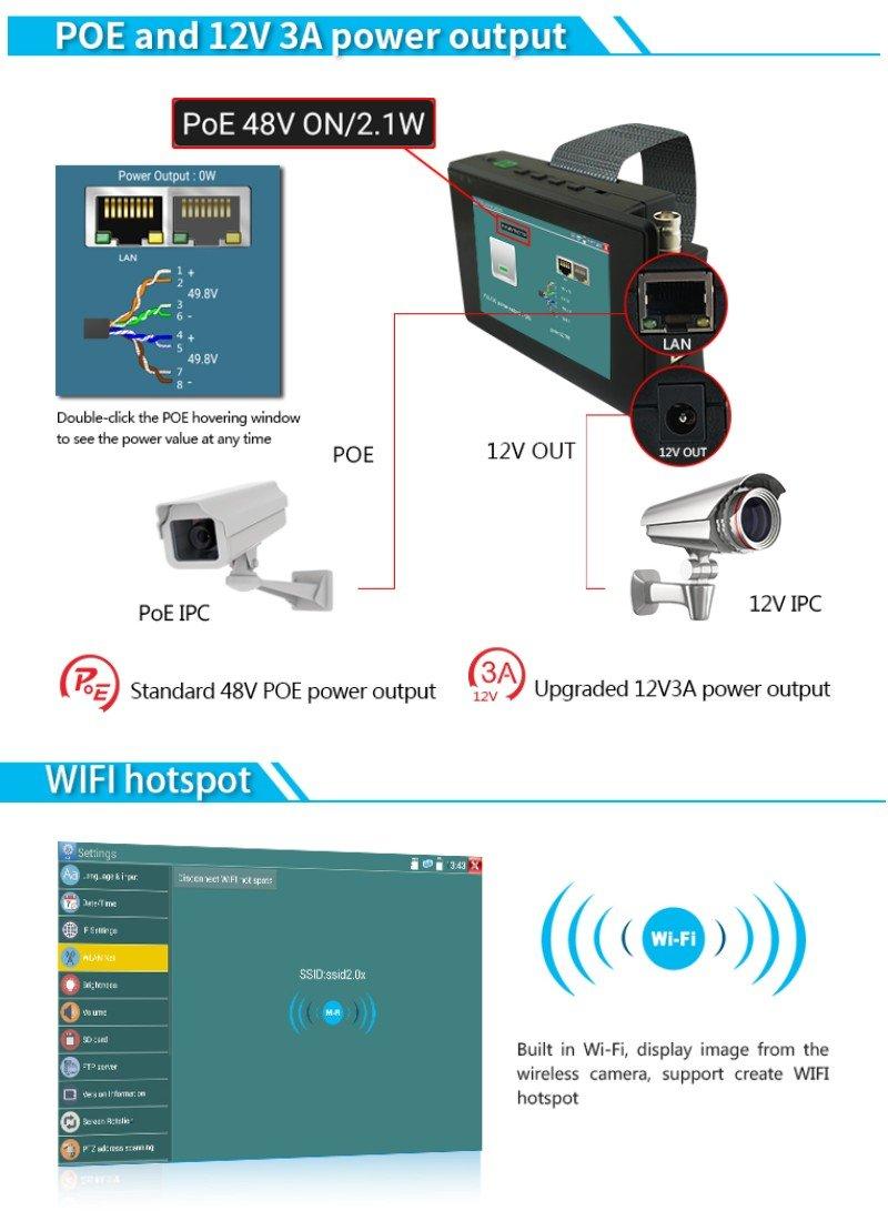 Pomiacam 4 Inch Wrist Coaxial HD 4.0 CCTV Tester H.265 4K IP Camera Tester CVBS 8MP TVI 4MP CVI 5MP AHD 5-in-1 CCTV Camera Tester Monitor with WiFi ONVIF POE 12V Output IPC1800ADH Plus