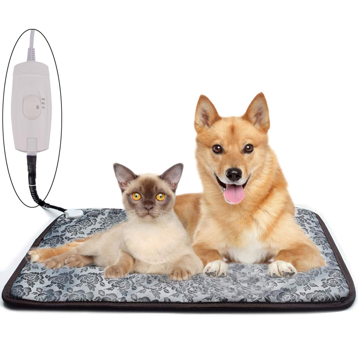 Homello Pet Heating Pad for Cats Dogs, Waterproof Electric Heating Mat Indoor, Adjustable Warming Mat, Pets Heated Bed with Chew Resistant Steel Cord (33 x 21) by Homello