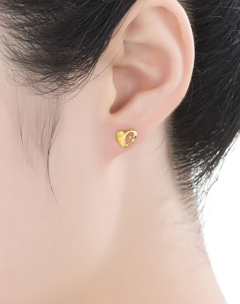 Beydodo 1.83g 24K Yellow Gold 999 Stud Earrings for Womens Heart Frosted Earrings Stud for Wedding