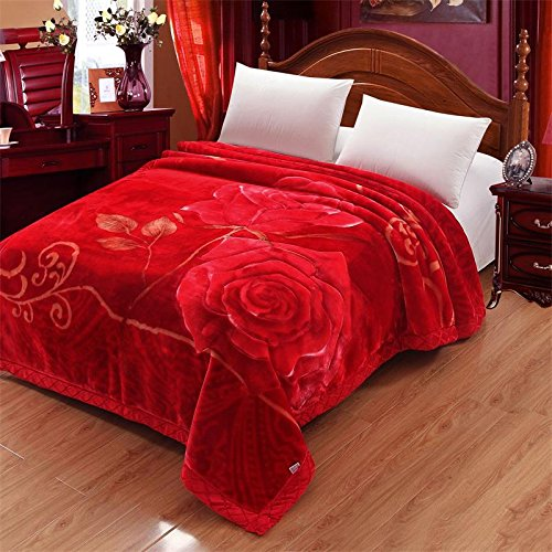 Znzbzt Wedding red blanket thick-pile carpet in winter cover wedding celebration red double blanket ,200X230-7 catty, rose, deep-red by Znzbzt