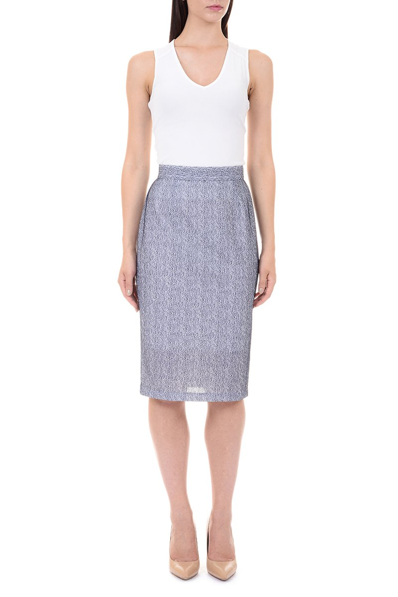 LM StyleBar Womens Variegated Mesh Pencil Skirt Medium Navy & White