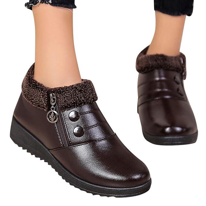 ❤ Botas Cortas de Invierno Slip-On, Clásicos Impermeables para Mujer Zapatos Planos con Cremallera Botines de Cuero Antideslizantes: Amazon.es: Ropa y ...