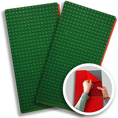 Creative QT Peel-and-Stick, Self Adhesive Baseplates - 2 Pack (10 x 20) - Compatible with Duplo-Style Bricks (Only with Bigger Size Blocks) - Fastest and Easiest DIY Play Table or Wall (Green)