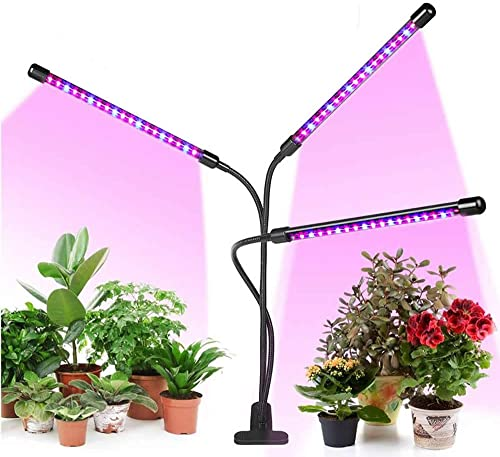Led Grow Light for Indoor Plants and Potted Plants 3 Heads Timing Planting Light 3 9 12 Hour Timer 5 Switching Modes and 3 Spectral Modes, Light Direction Variable and Cover Large Areas red