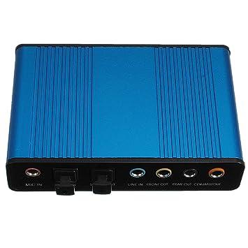 WOVELOT Tarjeta De Sonido De Audio Azul Externo USB 6 Canal 5.1 ...
