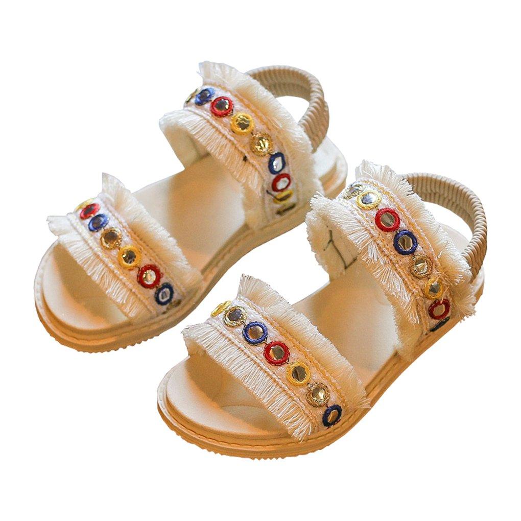 lakiolins Toddler Girls Open Toe Slip On 2 Strap Tassels Flat Sandals Summer Beach Shoes White Size 30
