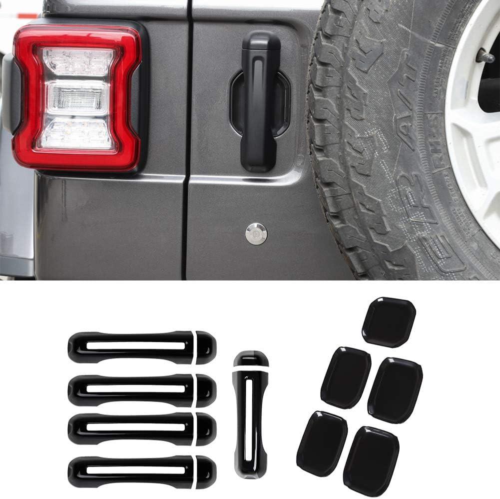 2-Door Nkcar Chrome ABS Car Door Handle Shell and Door Bowl 9PCS for Jeep Wrangler JL 2018+