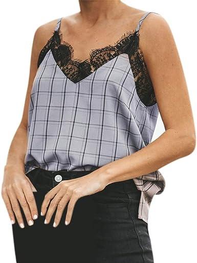 FELZ Camiseta de Tirantes Mujer Camisa sin Mangas con Cuello en v Encaje Mujer Chaleco Casual Blusa Impresión a Cuadros Chaleco Ajustado de Verano Tops Casual T-Shirt: Amazon.es: Ropa y accesorios