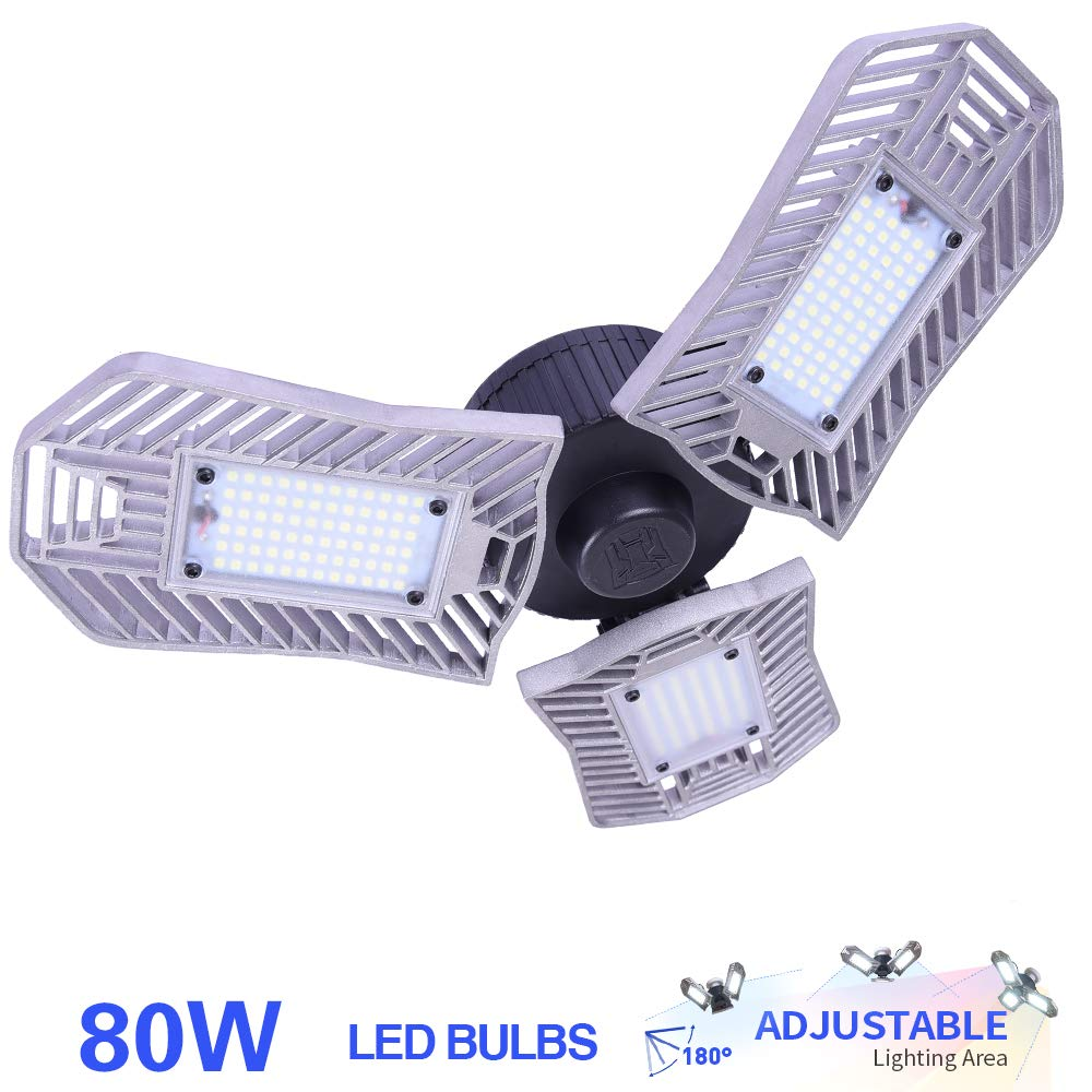 80W LED Garage Light, E26 Garage Lighting 8000 Lumens, led Garage Ceiling Lights, Garage Light Bulbs,Work Lights for Garage, Workshop, LED High Bay Lights(80w''Standard'' Daylight)