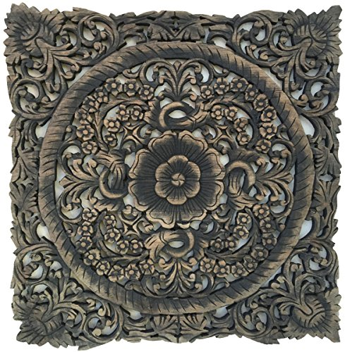 Rustic Wood Wall Decor. Oriental Carved Lotus Wood Plaque. 24