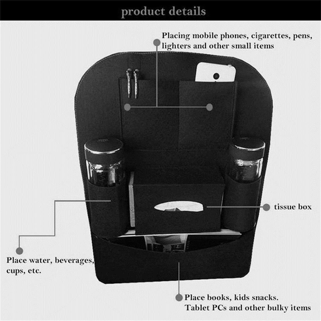 Tiowea Organizer f/ür die R/ücklehne des Autos Mehrfachhalterung aus Autofilz f/ür die Aufbewahrungstasche Kofferraumtaschen