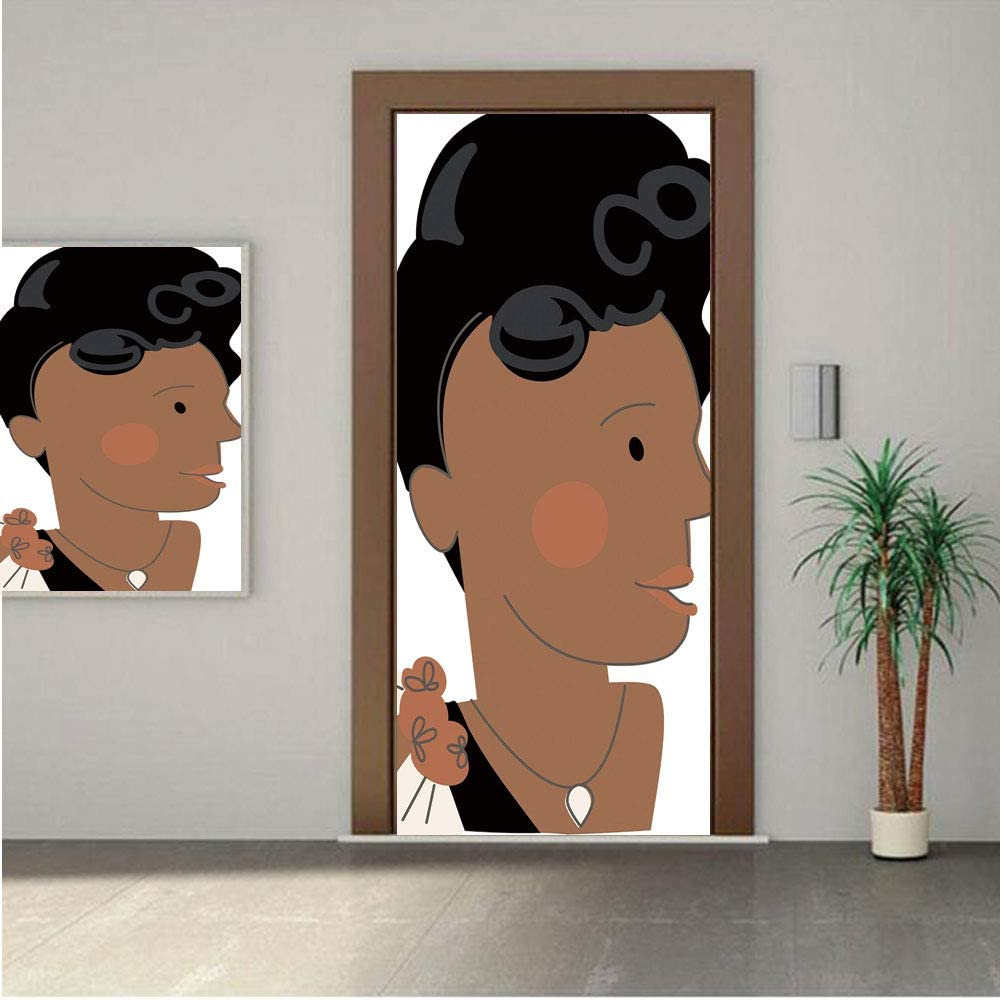 Ylljy00 Ella Fitzgerald Decor Premium Stickers for Door/Wall/Fridge Home DecorQueen of Jazz Famous Idol Female Artist Vocalist Decorative 24x80 ONE Piece Sticky Mural,Decal,Cover,Skin