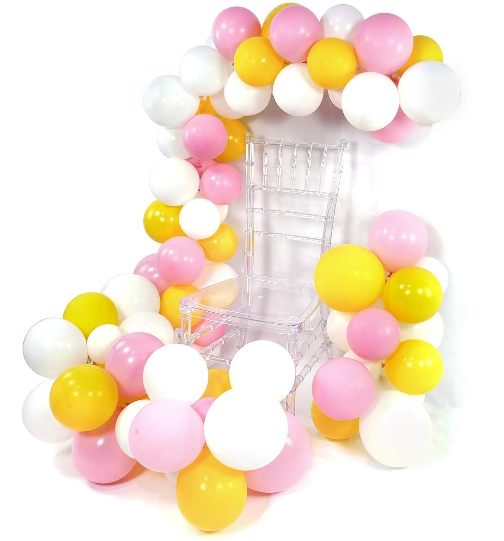 PartyWoo ピンク イエロー バルーン 100個 10インチ ベビーピンク バルーン イエロー バルーン ホワイト バルーン プリンセス ベル パーティー バルーン 美女と野獣 パーティー サプライ 女の子のベビーシャワー 女の子の誕生日   B07KVTDPSF