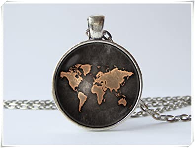 Jun world map necklace globe necklace earth map jewelry world map jun world map necklace globe necklace earth map jewelry world map pendant travel pendant travel gumiabroncs Gallery