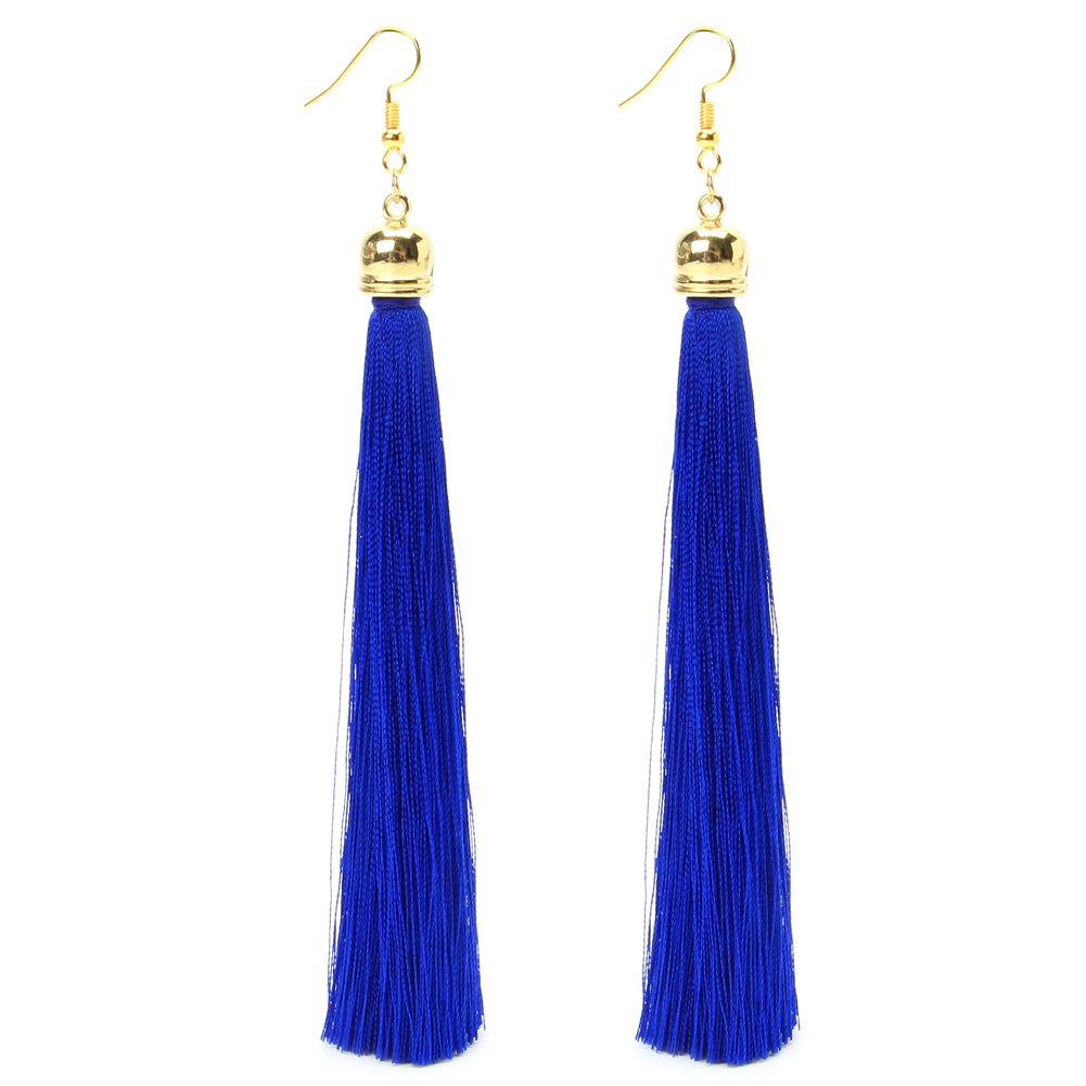 Mimgo 1 Pair Vintage Long Tassel Dangle Earrings Thread Fringe Drop Earring For Women