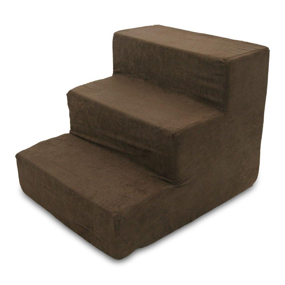 Dark Brown 3-Step Dark Brown 3-Step Best Pet Supplies 3-Step Foam Pet Stairs Steps, 18 by 15 by 13-Inch, Dark Brown Suede