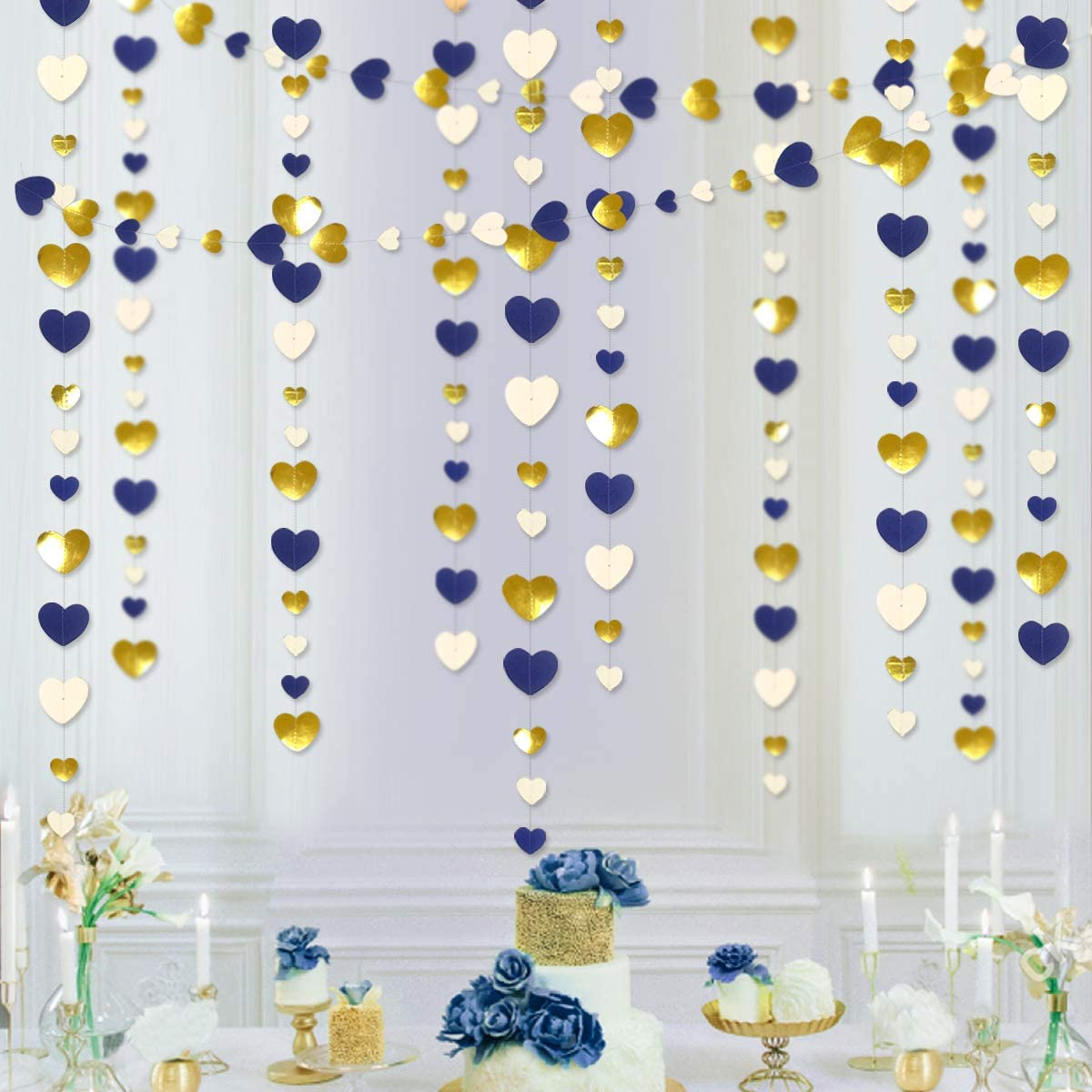 52 Ft Navy Blue Beige Gold Party Decorations Love Heart Hanging Paper Garland Streamer Banner for Bachelorette Engagement Wedding Birthday Bridal Shower Anniversary Valentines Party Supplies (4pack)