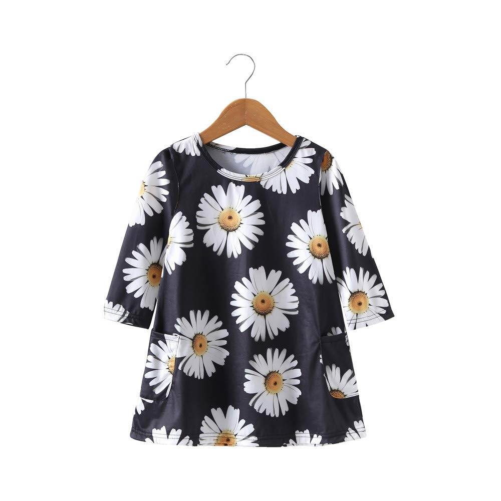 e17b6b97d97 Amazon.com  Mommy and Me Dress Daughter Toddler Baby Kids Girl Sunflower  Party Floral Print Outfits Family Clothes with Pocket  Clothing